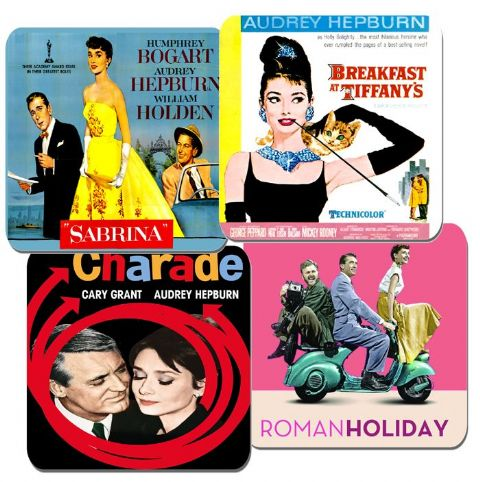 Audrey Hepburn Movie Film Poster Coasters Set Of 4. High Quality Cork. Breakfast